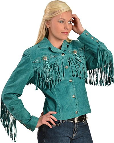 Scully Women's Fringe And Beaded Boar Suede Leather Jacket Turquoise Medium
