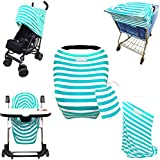 Stretchy Stripes 5-in-1 Baby Car Seat Canopy, Stroller Shade, Shopping Cart Cover, High Chair Cover And Nursing...