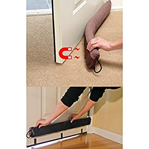 Evelots magnetic clip on door draft stopper cold air out for Door air blocker