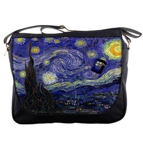 Doctor WHO Tardis Police Call Box Starry Night Van Gogh Messenger Shoulder Bag
