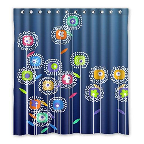 """Minimalista stile Cartoon fiori vari colori di acquerello fiori sfondo è il colore del denim disegno poliestere tessuti impermeabile bagno tende da doccia 167 cm x183 cm (66 """"X72""""), 12 anelli per tende."""