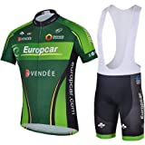 2013 Europcar Men's outdoor Short sleeve cycling clothing bicycle equitment cycling jersey set jersey+bib pants (XL(Please check the size chart on the left))