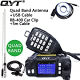 QYT KT-7900D Quad Band Quad-standby Mini Mobile Car Truck Radio, VHF UHF 144/220/350/440 MHz, 25W Vehicle Transceiver with Cable & CD + 50W High Gain Quad Band Antenna + Car Clip RB-400 + 5m Cable