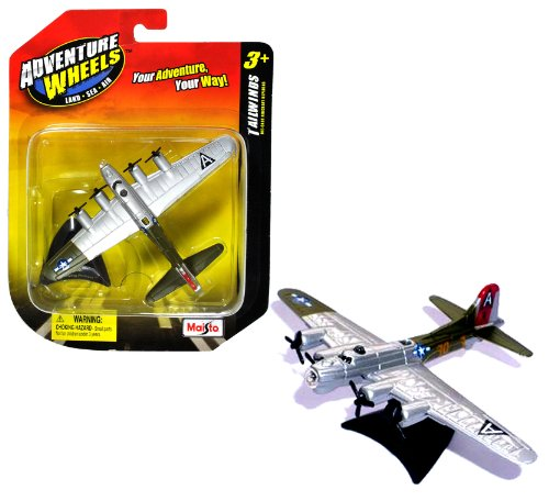 Maisto Adventure Wheels Land-Sea-Air Tailwinds Series 1:226 Scale Die Cast United States Military Aircraft Replica - U.S. High Flying Long-Range Heavy Bomber AircraftB-17 FLYING FORTRESS with Display Stand (Dimension: 4