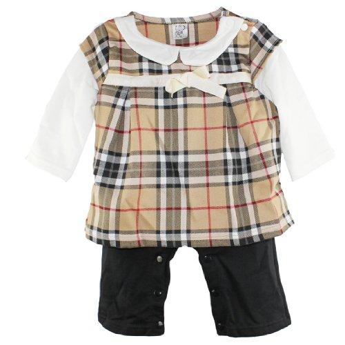 Vikoros Infant Baby Girl Toddler Plaids One Piece Romper Jumpsuit L(12-18Months) front-877524