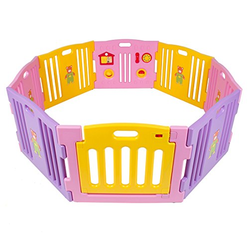 Find Bargain Kidzone© Baby Playpen Kids 8 Panel Safety Play Center Yard Home Indoor Outdoor Girls (...