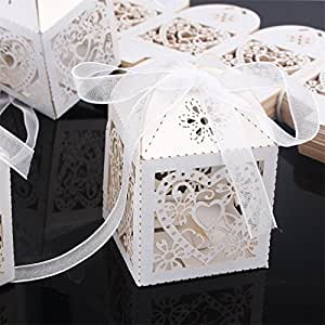 ... Wedding Candy Box Favor Boxes With Ribbon For Wedding Party-White