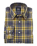 Savile Row Men's Navy Yellow Heavy Brushed Check Casual shirt XXL Standard