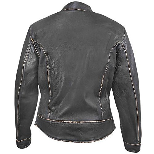 Xelement BXU-100530 Vintage Womens Dark Brown Leather Jacket - 3X-Large 3