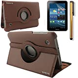 "New 360 Degress Rotating Stand PU Leather Case Cover / Screen Protector / Stylus for Samsung Galaxy Tab 2 7"" Tablet P3100/P3110 (3in1 Brown)"