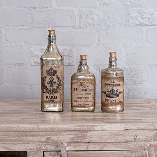 FABULIV Edwin Vintage Style Glass Decorative Bottles (Set of 3), Antique Gold