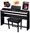 Casio Privia PX-350 88-Key Digital Piano Bundle with Casio SP-67 Furniture-Style Stand, Casio SP-33 3-Pedal System, Gearlux Padded Flip-Top Piano Bench, Hal Leonard Instructional Book, and Austin Bazaar Polishing Cloth - Black