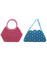 Virali Rao Women's Hand-held Bags Combo, Pink And White, Blue