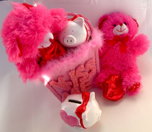 BE MINE Fluffy Valentine's Day Fabric Gift Bag For Adults & Children - Piggy Bank, Plush Teddy Bear Stuffed Animal & Large Foil Wrapped Valentine Milk Chocolate