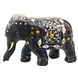 Suryanis Wood Handcrafted Solid Rosewood Elephant With Acrylic Inlay Work Showpiece - (17 Cms, Brown)