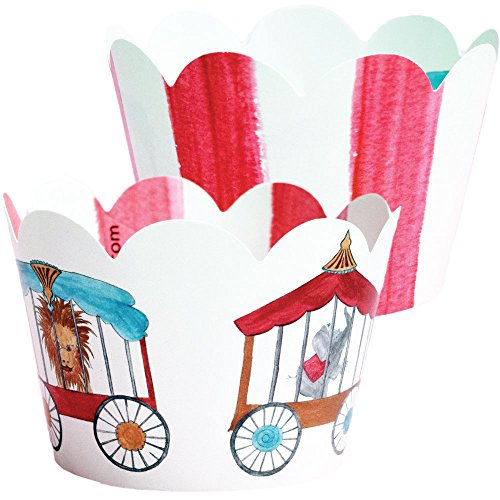 Circus Cupcake Wrappers, Carnival Theme Decorations, Confetti Couture Party Supplies, 36 Wraps