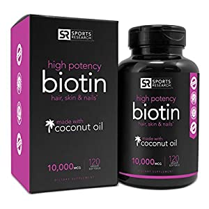 Biotin 10,000mcg in Cold-Pressed Organic Coconut | Non-GMO & Gluten Free - 120 Mini Veggie Softgels