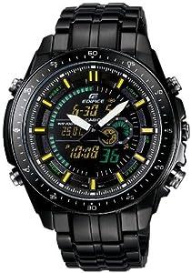 CASIO Edifice EFA-132BK-1AVEF - Reloj de caballero de cuarzo, correa de acero inoxidable color negro (con alarma, luz, cronómetro)
