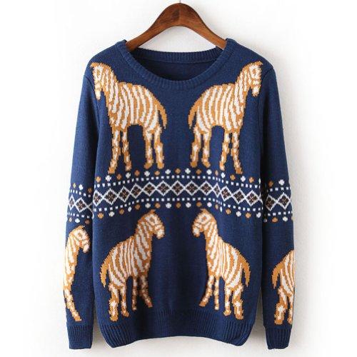Women Girls Zebra Grid Pattern Knited Pullover Sweater