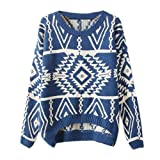 Zeagoo Womens Geometric Knitted Sweater Loose Pullover Outwear