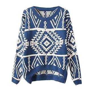 Zeagoo Women's Geometric Knitted Sweater Loose Pullover Outwear Blue