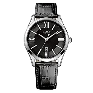 Hugo boss Black Dial Black Leather Band Men's watch HB 1513022