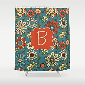 Teal Orange Floral Personalized Shower Curtain