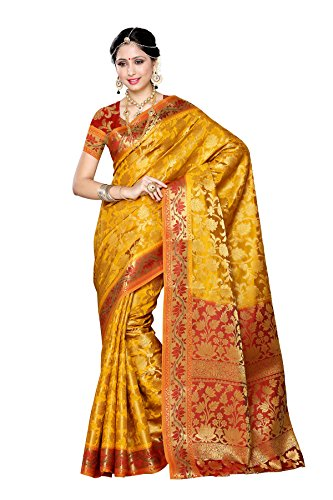 Mimosa Women's Traditional Art Silk Saree Kanjivaram Style With Blouse Color:Gold(3297-153-GLD-MRN )  available at amazon for Rs.1699