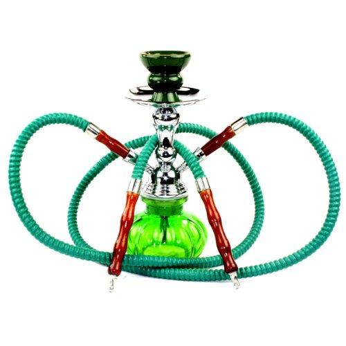 NeverXhale-Premium-Series-11-2-Hose-Hookah-Shisha-Complete-Set-Pumpkin-Glass-Vase-Pick-Your-Color-Spring-Green