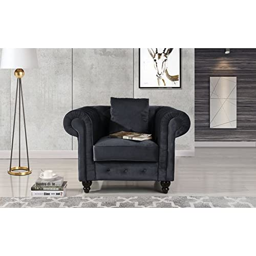 Classic Scroll Arm Large Velvet Living room Chesterfield Accent Chair (Black)