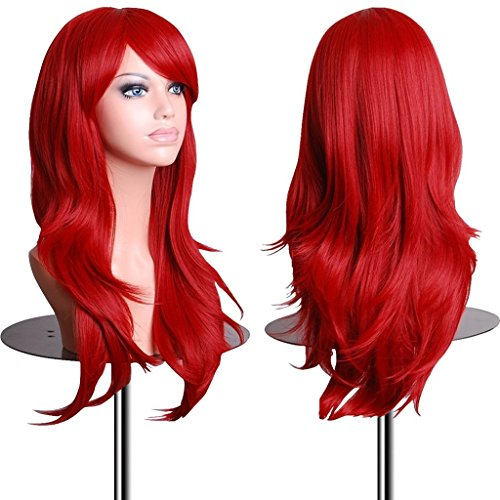 EmaxDesign Wigs 28 inch Wavy Curly Cosplay Wig With Free Wig Cap and Comb (Red) (Red Mermaid Wig compare prices)
