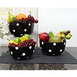 Set of 3 POLKA DOTS Black Ceramic Mixing Bowls, 82169MIX By ACK