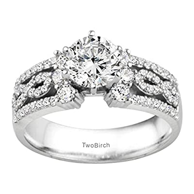 Silver Embellished Promise Ring with CZ (1.55 ct. twt.)