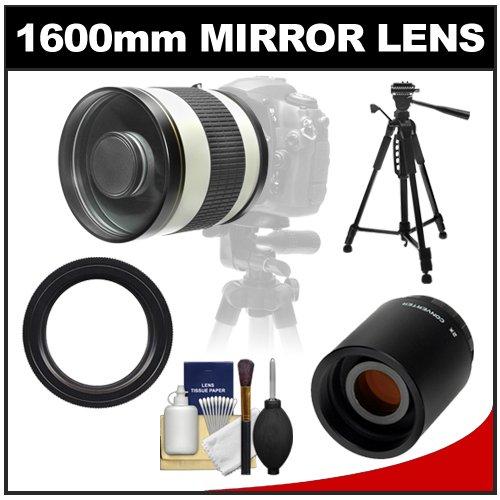 "Samyang 800Mm F/8.0 Mirror Lens (White) With 2X Teleconverter (=1600Mm) + 58"" Tripod Kit For Canon Eos 60D, 7D, 5D Mark Ii Iii, Rebel T3, T3I, T4I Digital Slr Cameras"