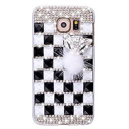 Samsung Galaxy S7 Edge Case, Sense-TE Luxurious Crystal 3D Handmade Sparkle Diamond Rhinestone Clear Cover with Retro Bowknot Anti Dust Plug - Lattice Grid Fox / White&Black