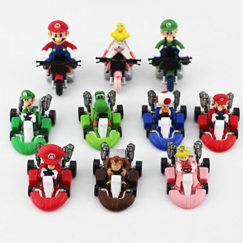 New Cute Super Mario Bros Kart Pull Back Car Motorcycle 10pcs/set PVC Action Figure Toys Brithday Gift for Children