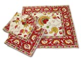 HME TTCN 201 Floral Table Cover Napkins, Red, Set of 4