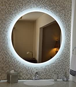 wall mounted lighted vanity mirror led mam2d48 commercial. Black Bedroom Furniture Sets. Home Design Ideas