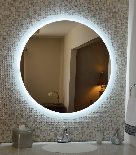 wall mounted lighted vanity mirror led mam2d48 commercial grade 48 round bathroom hardware direct. Black Bedroom Furniture Sets. Home Design Ideas