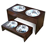 PetFusion Elevated Pet Bowl Holder in Natural Pine, Short, 4-in high