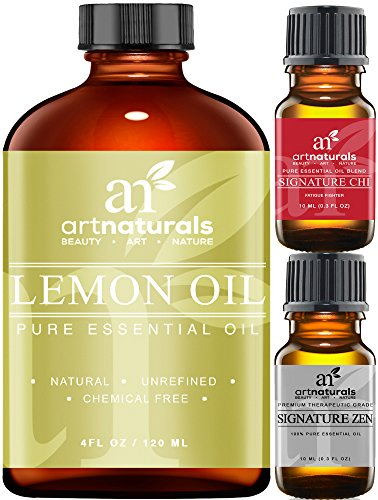 Art Naturals Lemon Essential Oil 4.0 oz 3pc Set - Includes Our Aromatherapy Signature Zen & Chi Blends 10ml Each Therapeutic Grade 100% Pure & Natural (Concentrated Air Freshener Gallon compare prices)