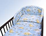 NEW COT BUMPER BED BEDDING SET BABY NURSERY COLOURFUL DESIGNS 120x60cm140x70cm (180 cm, Teddy Honey Blue)