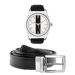 Laurels Men's Belt And Watch Combo (White,Brown) (IMP-101 BT-01)
