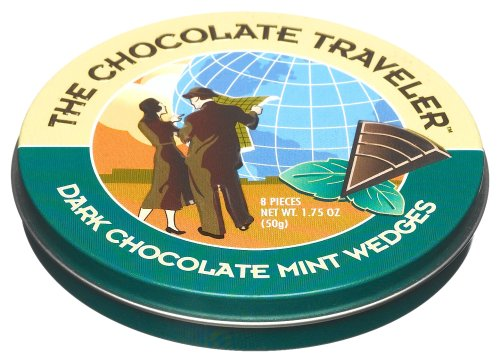 The Chocolate Traveler Dark Chocolate Mint Wedges, 1.75-Ounce Tins (Pack of 12)