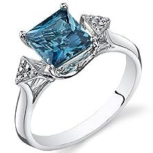 buy London Blue Topaz Diamond Ring 14Kt White Gold Princess Cut 2 Carats