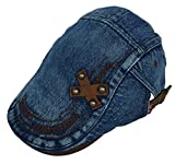 (ビグッド)Bigood レディース メンズ 兼用 帽子 カジュアル キャップ デニム ハンチング帽 サンバイザー クロス デザイン 日焼け防止 通学 通勤 お出かけ(深青B)