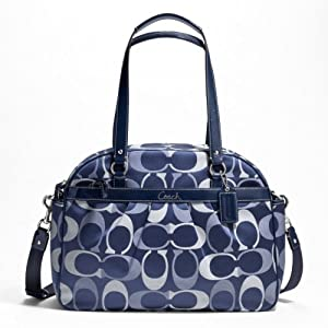 Coach Addison Tri-Color Signature Baby Bag Tote, Navy