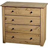 Home Discount  Chest of Drawers Solid Pine 4 Drawer Bedroom Furniture Waxed *Brand New*