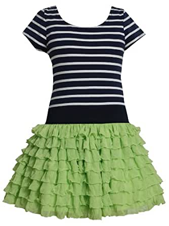 Bonnie Jean Girls 2-6X Eyelash Stripe Dropwaist Dress (6, Green)