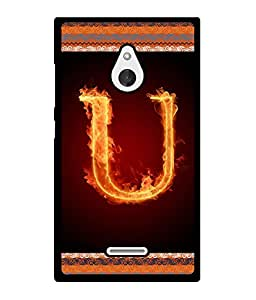 Fuson 2D Printed Alphabet U Designer back case cover for Nokia XL - D4211
